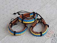 Браслет кожаный с украинским флагом сине-желтый