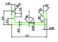 Профиль для LED ленты (2м) накладной (15,1х5,9мм) алюминий черный