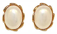 Серьги -гвоздики с круглыми камнями, имитация жемчуга . Цвет: позолота. Высота серьги 2 см. Ширина: 1,5 см