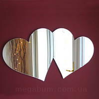 «Пара сердец» акриловое зеркало наклейка, размер 470х600, фото 1
