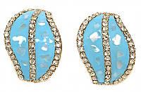 Серьги с итальянской застёжкой. Вставка:страза. Позолота с голубой эмалью.Высота серьги: 2,5 см Ширина:15мм