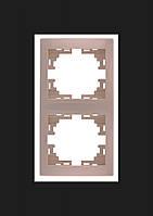 Рамка 2-ая вертикальная Lezard  MIRA, кремовая 701-0300-152