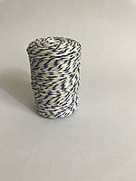 Цветной шпагат, декоративная нить для упаковки, белый с синим