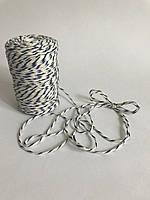 Цветной шнур 100 м, декоративная нить для упаковки, белый с синим