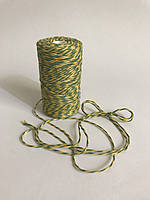 Цветной шпагат 100 м, декоративная нить для упаковки, зеленый с желтым