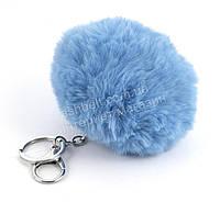 Стильный модный оригинальный приятный на ощупьмеховой брелок на сумку art. голубой (100914)