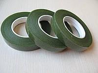 Тейп лента тёмная оливка (флористическая лента) 12 мм