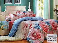 """Комплект постельного белья двуспальный евро """"Розы голубые и розовые"""""""