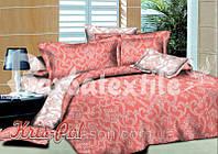 """Комплект постельного белья Евро двуспальный, поплин """"Орнамент розово-белый"""""""