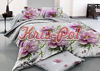 """Комплект постельного белья Евро двуспальный, 3D """"Цветы, роса, жемчуг"""""""