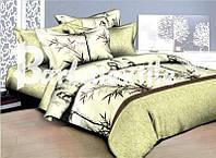 """Комплект постельного белья Евро двуспальный, 3D """"Бамбук на салатовом"""""""