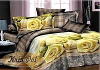 """Комплект постельного белья Евро двуспальный, 3D """"Желтые розы на клетке"""""""