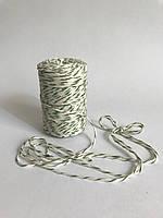 Цветной шнур 100 м, декоративная нить для упаковки, белый с зеленым