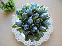 Тюльпаны из ткани голубые 2 см (20 шт)