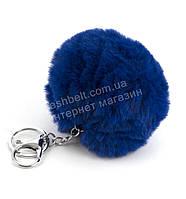 Стильный модный оригинальный приятный на ощупьмеховой брелок на сумку art. синий (100913)