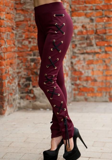 Бордовые лосины  со шнуровкой только 44