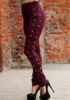Бордовые лосины  со шнуровкой только 44 , фото 1