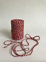 Цветной шпагат 100 м, декоративная нить для упаковки, красный с белым