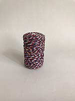 Цветной шпагат, декоративная нить для упаковки, синий красный с белым