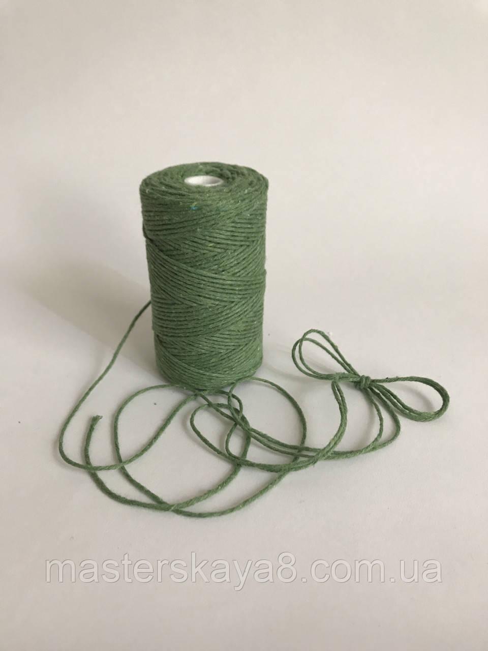 Кольоровий шпагат 100 м, декоративна нитка для упаковки, зелений