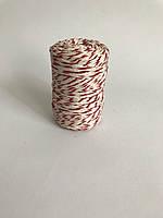 Цветной шпагат, декоративная нить для упаковки, белый с красным
