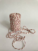 Цветная нить 100 м, декоративный шнур для упаковки, белый с красным