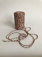 Цветной шпагат, декоративная нить для упаковки, красный зеленый с белым