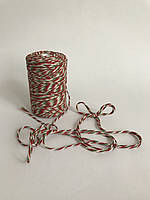 Цветной шнур 100 м, декоративная нить для упаковки, красный зеленый с белым