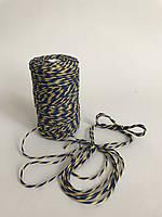Цветной шпагат 100 м, декоративная нить для упаковки, синий с желтым