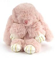 Стильный модный оригинальный приятный на ощупьмеховой брелок кролик на сумку art. нежно розовый (101039)
