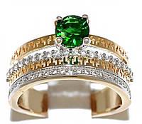 Кольцо фирмы Xuping.Цвет: позолота+родий. Камни:белый  и зелёный циркон. Ширина: 1,5 см. Есть 18 р. 19 р.