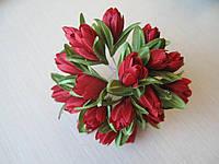 Тюльпаны из ткани красные  2 см (20шт)