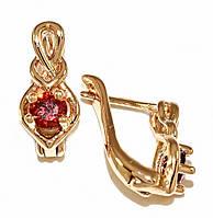 Серьги Xuping, позолота . Камень: бордовый циркон . Высота серьги 1,4 см. ширина 6 мм.