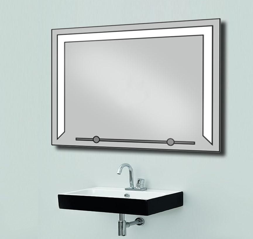 Зеркало со светодиодной подсветкой и полкой 800х600
