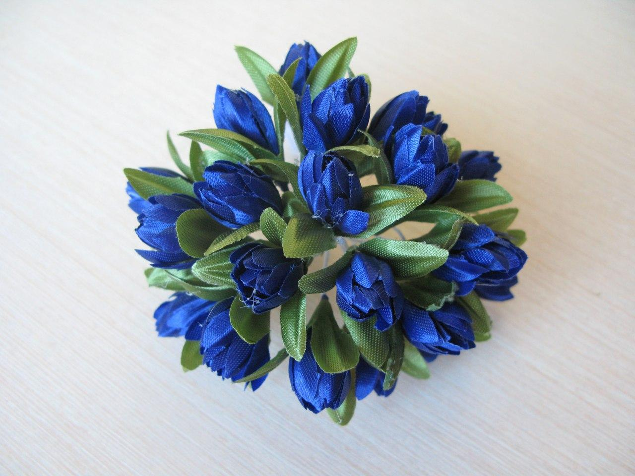 Тюльпаны из ткани синие  2 см - 20 шт, 28 грн