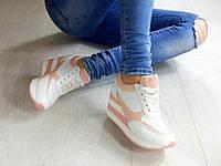 Модные кроссовки на танкетке с перфорацией, кроссовки сникерсы на платформе БЕЛЫЙ+PINK  эко-кожа, лак Венгрия