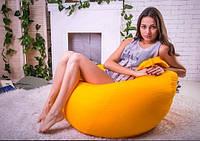 Кресло груша жёлтого цвета из ткани оксфорд
