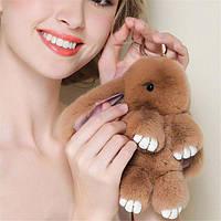 Брелок-игрушка пушистый Кролик 18 см (брелок на сумку зайка)