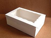 Коробка для капкейков 17см х 25см х 9см, 9 см, С окном, 6 шт., Белый