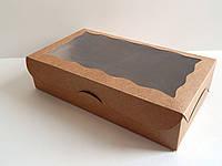 Коробка для капкейков 9 см, 6 шт., С окном, 17см х 25см х 9см, Крафт