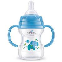 Антиколиковая бутылочка с ручками для кормления bayby bfb6104 150 мл синяя