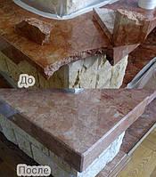 Трещины и сколы на поверхности столешницы - ремонт мраморной столешницы