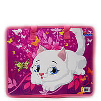 Сумка портфель на молнии с тканевыми ручками Kitty