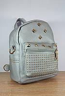 Женский городской рюкзак 2в1 сумка рюкзак  цвет серебристый