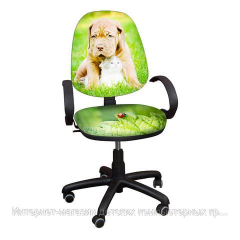 """Детское кресло Поло хром РМ """"Щенок с котенком"""""""
