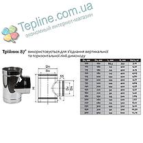 Трійник-сендвіч 87° для димоходу d 110 мм; 0,5 мм; AISI 304; нержавійка/оцинкування - «Версія-Люкс», фото 3