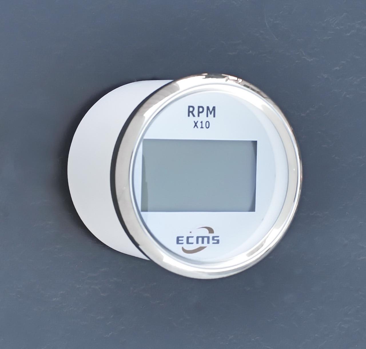 Цифровой тахометр со счетчиком моточасов ECMS (белый)