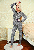 Стильная женская пижама с леопардовым принтом, с кармашками