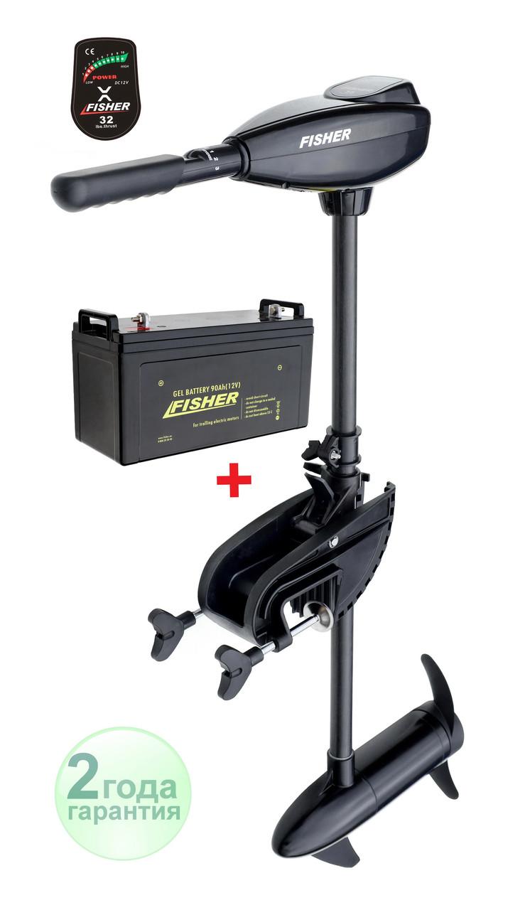 Электромотор Fisher 32 + аккумулятор Gel 90Ah
