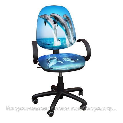 """Детское компьютерное кресло Поло РМ """"Дельфины"""""""